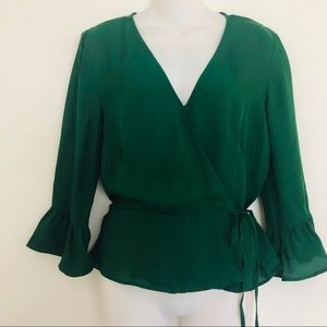 H&M crossover front green blouse NWT